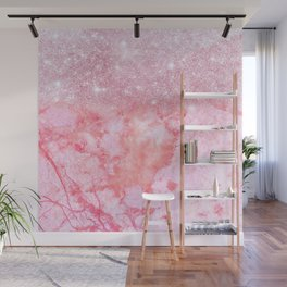Sparkly Pink Rosegold Glitter Blush Marble Wall Mural
