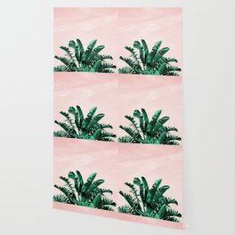 Turquoise Banana and palm Leaves Wallpaper