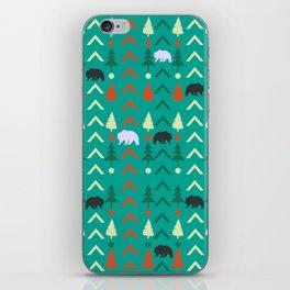 Winter bear pattern in green iPhone Skin