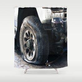 Flat Tire! Shower Curtain