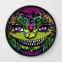 cheshire cat Wall Clocks featuring CHESHIRE by AZZURRO ARTS