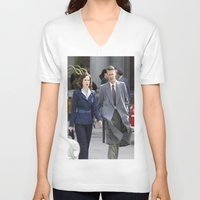 peggy carter V-neck T-shirts featuring Jack Thompson & Peggy Carter - Agent Carter. by agentcarter23