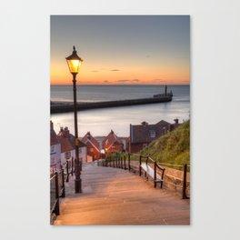 Whitby Steps - Orange Glow Canvas Print
