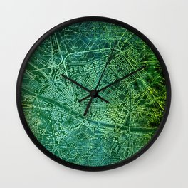 Florence 1890 green old map Wall Clock