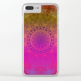 Sometimes less is more - Rainbow mandala excerpt Clear iPhone Case