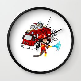 Firefighter Birthday 6 year old Wall Clock