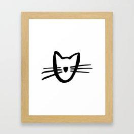 Cat Kitten Whiskers Illustration Framed Art Print