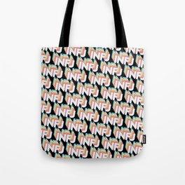 INFJ Trendy Rainbow Text Pattern (Black) Tote Bag
