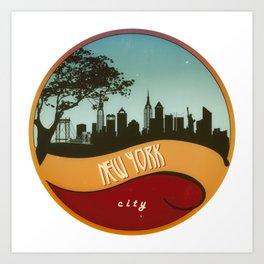 New York City Skyline NYC Retro Vintage Design  Description Art Print