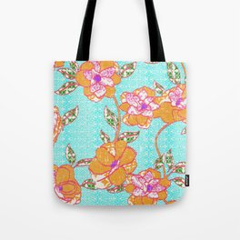 Crayon Bright Orange Flowers on Turquoise Tote Bag
