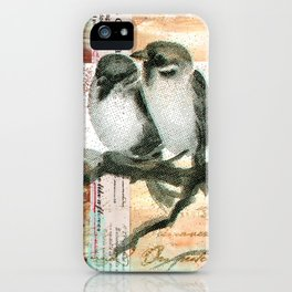 Vintage birds iPhone Case