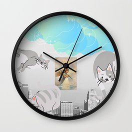 Vintage City View, Cherub & Cattys + Blue Clouds  Wall Clock