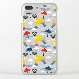 Schnauzer spring raincoat cute pattern for dog lover with schnauzers Clear iPhone Case