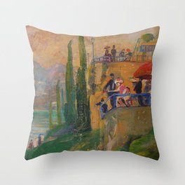 Lake Como, Italy landscape painting by  Lajos Gulácsy Throw Pillow