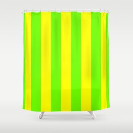 Bright Neon Green and Yellow Vertical Cabana Tent Stripes Shower Curtain