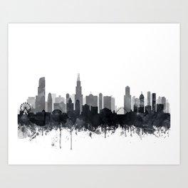 Chicago Skyline Watercolor Black & White by Zouzounio Art Art Print