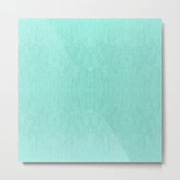 Mint Green Embroidered Look Metal Print