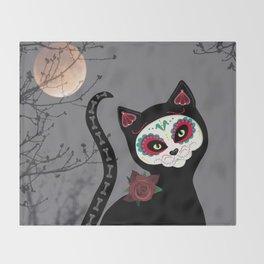 Sugar Skull Black Cat Throw Blanket