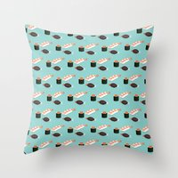 sushi Throw Pillows featuring Sushi by Bronte Poynts