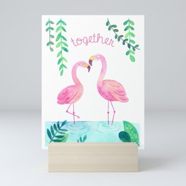 Pink Flamingos Together in the Jungle Mini Art Print