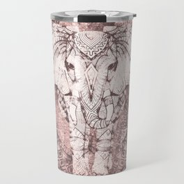 Bohemian, Elephant, Mandala, Blush, Moon Travel Mug