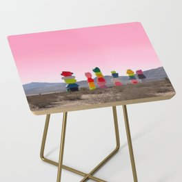 Seven Magic Mountains with Pink Sky - Las Vegas Side Table