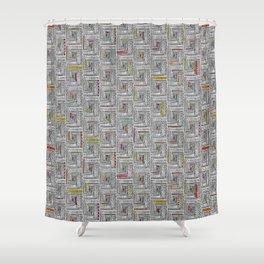 Log Cabin Pattern Shower Curtain