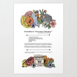 "Grandma's ""Gourmet Chicken"" Recipe Print Art Print"