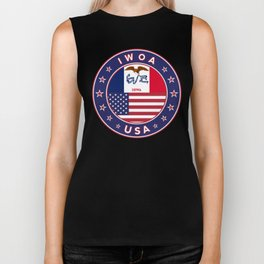 Iowa, Iowa t-shirt, Iowa sticker, circle, Iowa flag, white bg Biker Tank