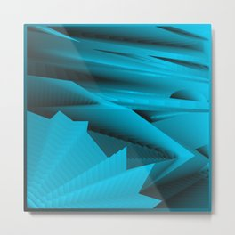 Psychedelic foil light blue landscap with stylised mountains, sea and Sun. Metal Print