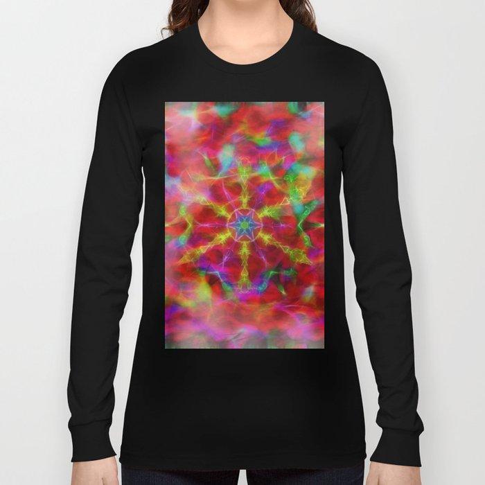 Vibrant kaleidoscope in red mist Long Sleeve T-shirt