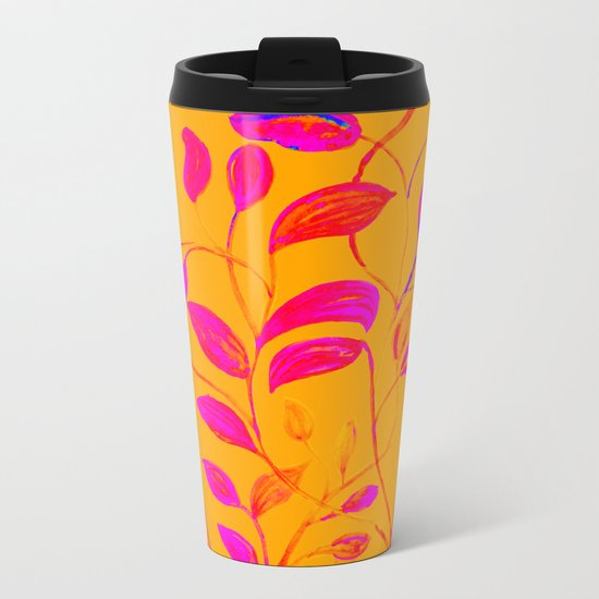 Peaches and Cream Red Leaves Metal Travel Mug