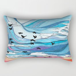 Birds flying at sunset: abstract colorful sunset sky illustration- nature landscape Rectangular Pillow