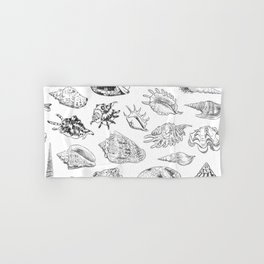 collection of sea shells, black contour on white background Hand & Bath Towel