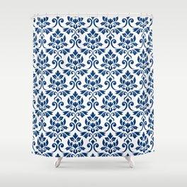 Feuille Damask Pattern Dark Blue on White Shower Curtain