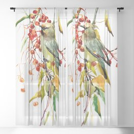 Waxwing in the Fall Sheer Curtain