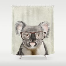 A baby koala with glasses on a rustic background Shower Curtain