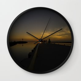 Sunset at the Pier Wall Clock