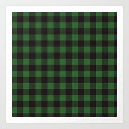 Buffalo Plaid Rustic Lumberjack Green And Black Check Pattern Art Print