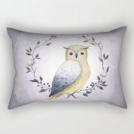 A Long Eared Owl On A Laurel Rectangular Pillow