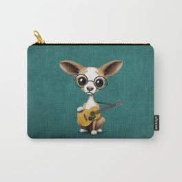 Chihuahua Puppy Dog Playing Old Acoustic Guitar Teal Carry-All Pouch