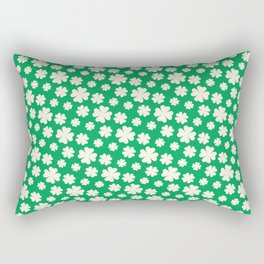 Off-White Four Leaf Clover Pattern with Green Background Rectangular Pillow