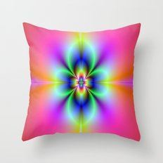 Flower in Neon Throw Pillow