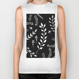 White Leaves Pattern #3 #drawing #decor #art #society6 Biker Tank
