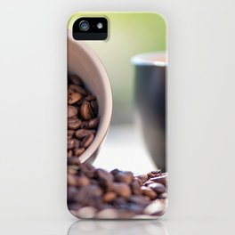 #Fresh #arabica #coffee #beans in #black #coffee #cups iPhone Case