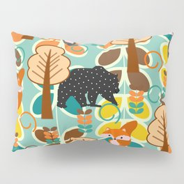 Magical forest with foxes and bears Pillow Sham