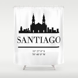 SANTIAGO DE CHILE BLACK SILHOUETTE SKYLINE ART Shower Curtain