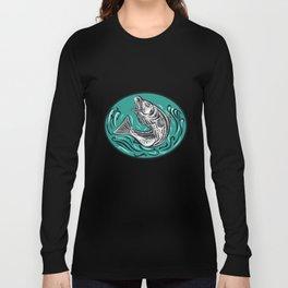 Rockfish Jumping Color Oval Drawing Long Sleeve T-shirt