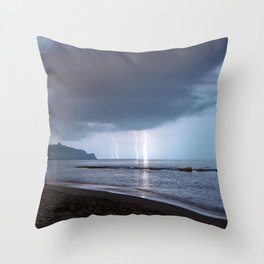 Lightning in an apprently quiet atmosphere Throw Pillow