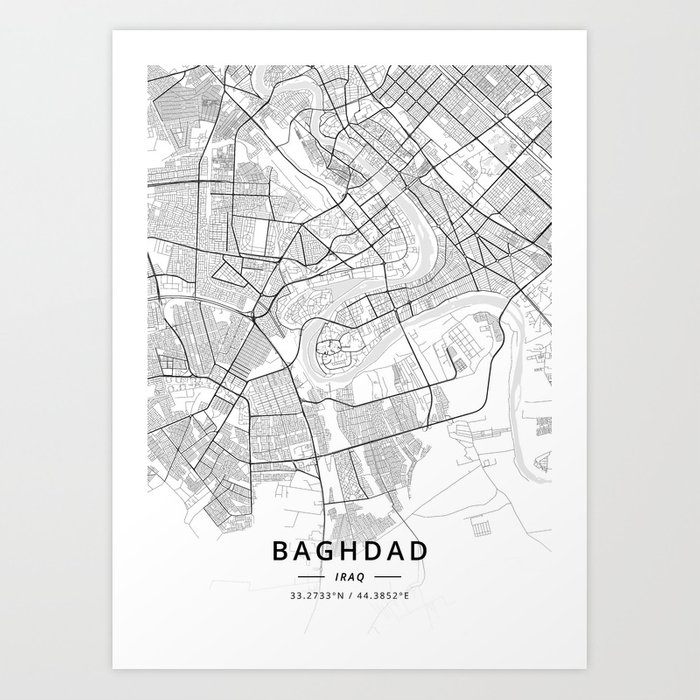 Baghdad, Iraq - Light Map Art Print by designermapart